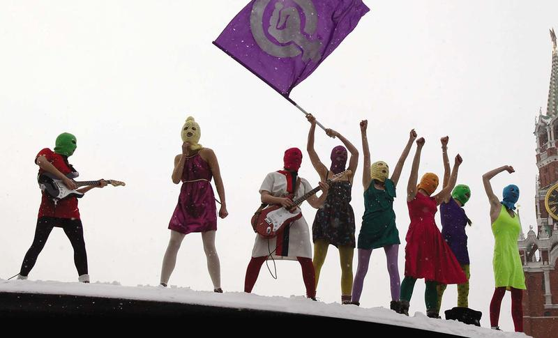 Members of political performance art collective Pussy Riot in Moscow's Red Square in 2012.