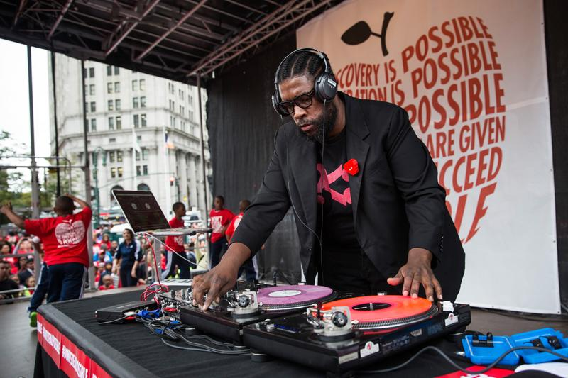 Quest Love DJs a set at a rally hosted by Families for Excellent Schools calling for an overhaul of the city's education system on October 2, 2014 in New York City.