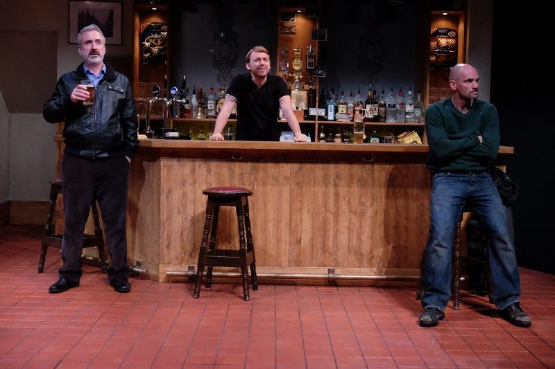 Declan Conlon, Robert Zawadski, and Patrick O'Kane in the Abbey Theatre's 'Quietly' at Irish Rep.