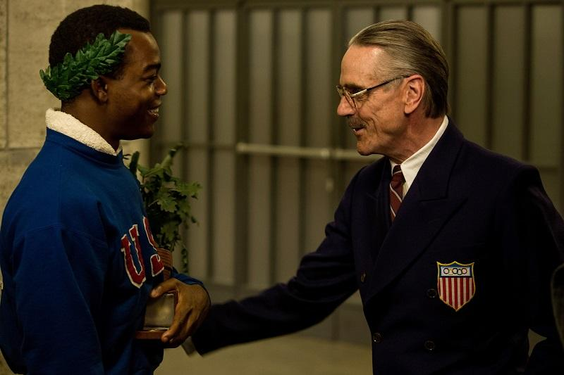 Stephan James (left) stars as Jesse Owens and Jeremy Irons (right) stars as Avery Brundage in Stephen Hopkins' RACE, a Focus Features release.