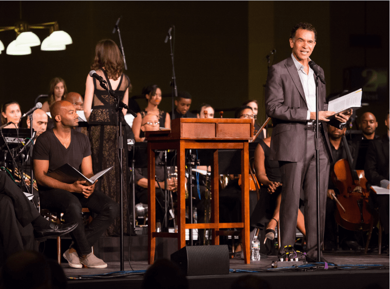 Brian Stokes Mitchell (l) narrated a one-night-only concert production of Ragtime on Ellis Island.