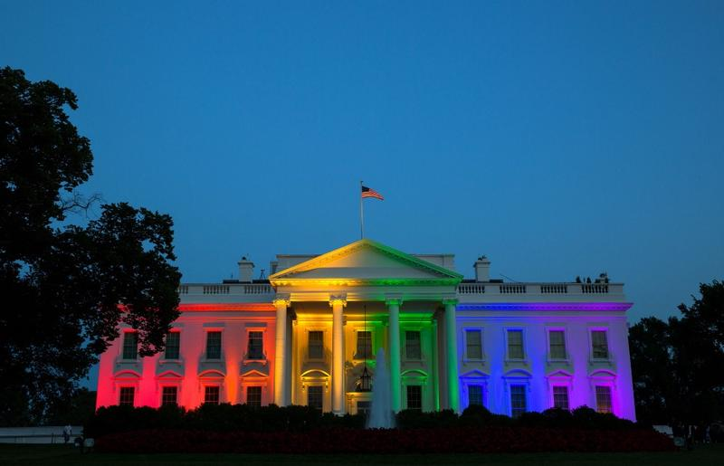 The White House is lit with the colors of the rainbow in celebration of the Supreme Court ruling on same-sex marriage, June 26, 2015.