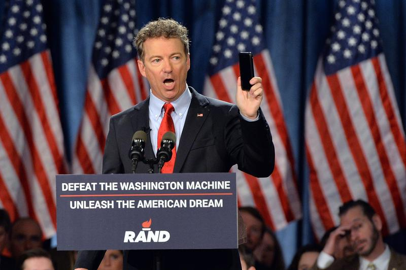US Senator Rand Paul (R-KY) speaks to supporters during the kickoff of the National Stand with Rand tour on April 7, 2015 in Louisville, Kentucky.