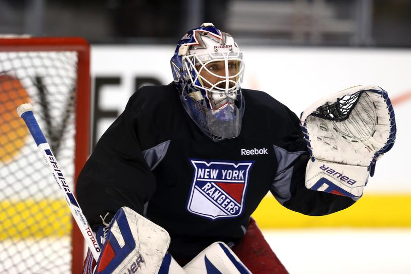 Henrik Lundqvist #30 of the New York Rangers tends goal during a practice session ahead of the 2014 NHL Stanley Cup Final at Staples Center on June 3, 2014 in Los Angeles, California.