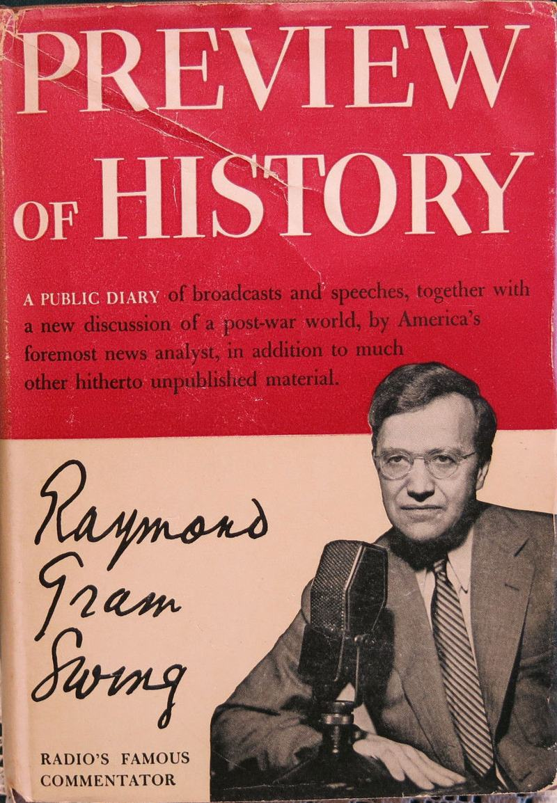 Book jacket for Raymond Gram Swing's 1943 bestseller.