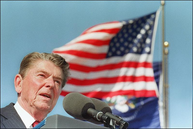 File photo dated 04 November, 1991 shows US President Ronald Reagan giving a speech at the dedication of the library bearing his name in Simi Valley, California.