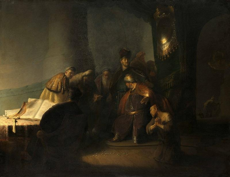 Rembrandt van Rijn (1606-1669), Judas Returning the Thirty Pieces of Silver, 1629. Oil on panel. Private collection.