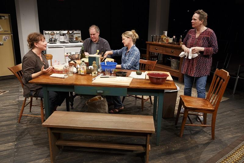 Amy Warren, Jay O. Sanders, Lynn Hawley, and Maryann Plunkett in What Did You Expect?, Play Two of The Gabriels: Election Year in the Life of One Family, written and directed by Richard Nelson.