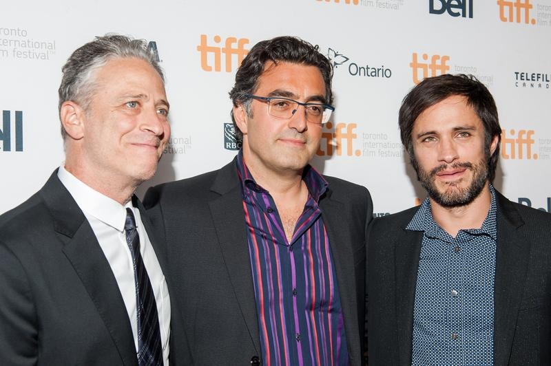 Director Jon Stewart, journalist Maziar Bahari and actor Gael Garcia Bernal attend the 'Rosewater' premiere at the Toronto International Film Festival at Princess of Wales Theatre on Sept. 8, 2014.