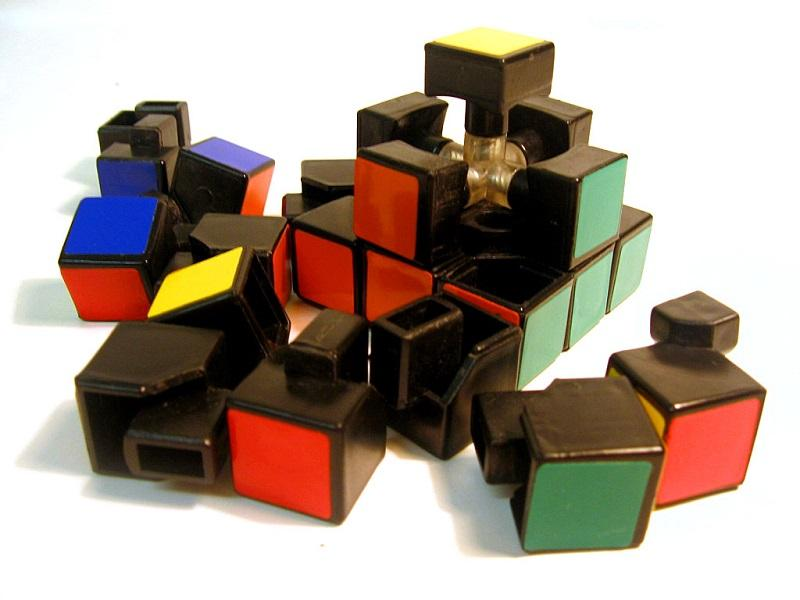 A Rubik's Cube partially disassembled.