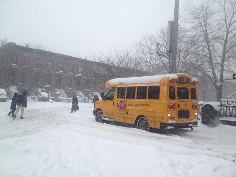 A stuck schoolbus in Brooklyn