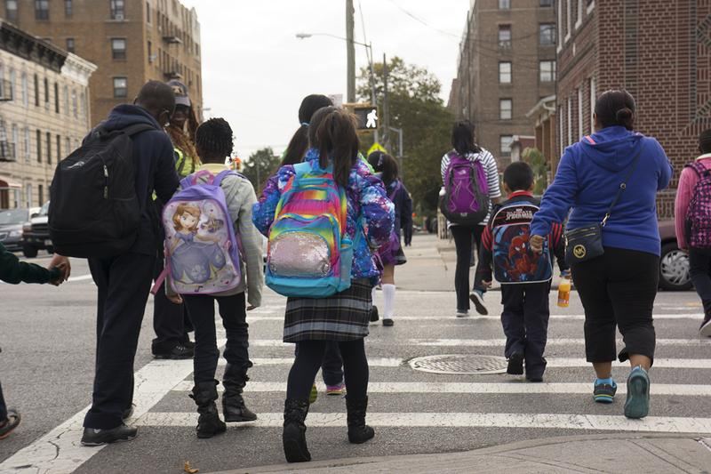 New York City students head to school in East Flatbush, Brooklyn.