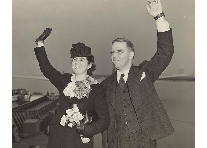 Martha and Watistill Sharp departing New York Harbor for Prague (via London) 1939.