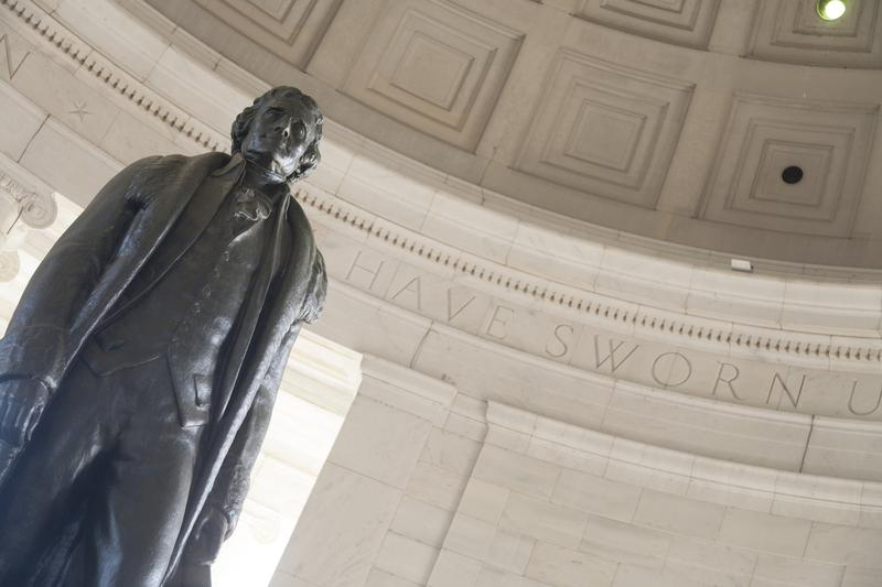 Bronze statue of Thomas Jefferson in the Thomas Jefferson Memorial, Washington DC, USA.