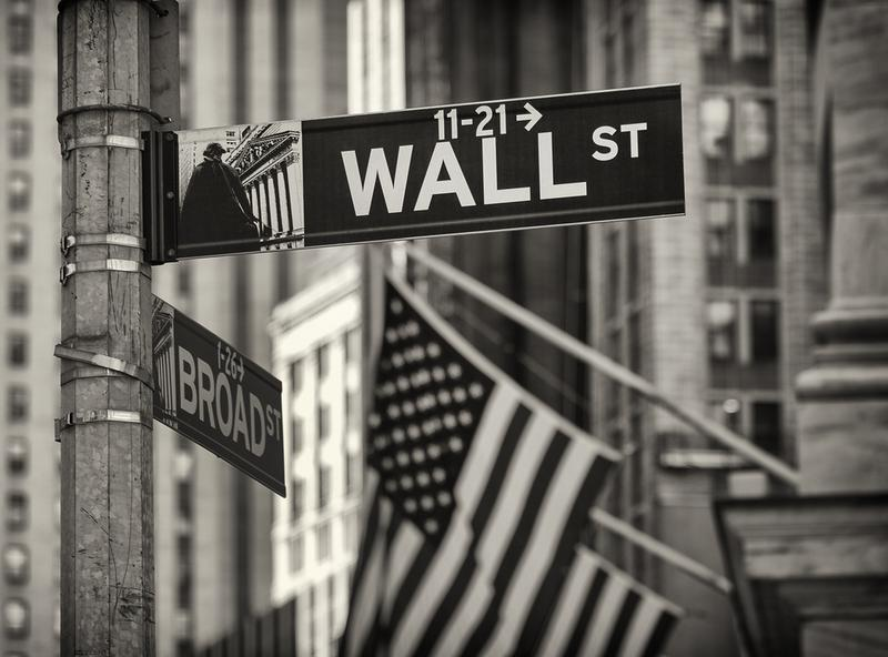 Portrait of some details of the famous Wall Street in New York city.