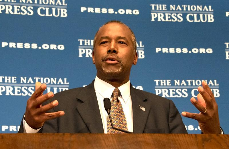 Ben Carson, retired neurosurgeon, author, and Republican presidential contender, speaks to a National Press Club luncheon. October 9, 2015
