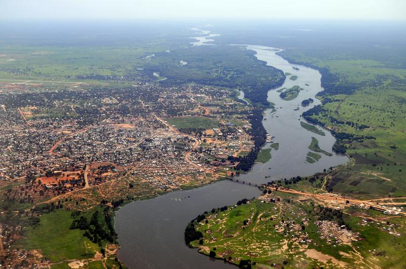 Aerial  view of Juba, the capital of South Sudan, with river Nile on the right.