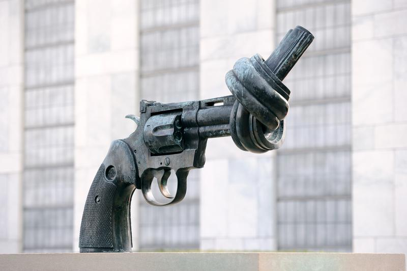 """Sculpture in UN on March 30, 2011 in Manhattan, New York City. """"Non-Violence"""" or sculpture by Fredrik Reuters"""
