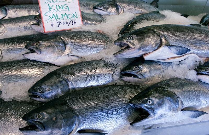 Wild King salmon in Seattle's Pike Place Market