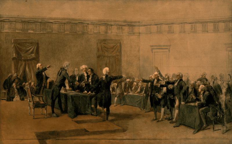 The Declaration of Independence of the United States of America, July 4, 1776 by Charles Édouard Armand-Dumaresq (1826-1895)