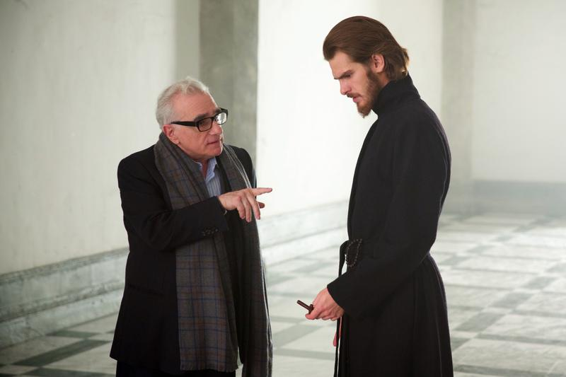 Director, Martin Scorsese and Andrew Garfield on the set of the film SILENCE by Paramount Pictures, SharpSword Films, and AI Films (Reprinted with permission from Kerry Brown, 2016 Paramount Pictures)