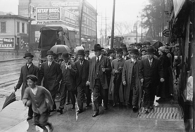 Industrial Workers of the World leaders William Dudley Haywood and his entourage in Paterson during the silk strike.