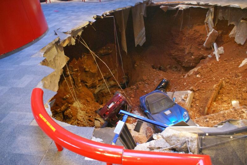 A sinkhole in the National Corvette Museum in Bowling Green, Kentucky