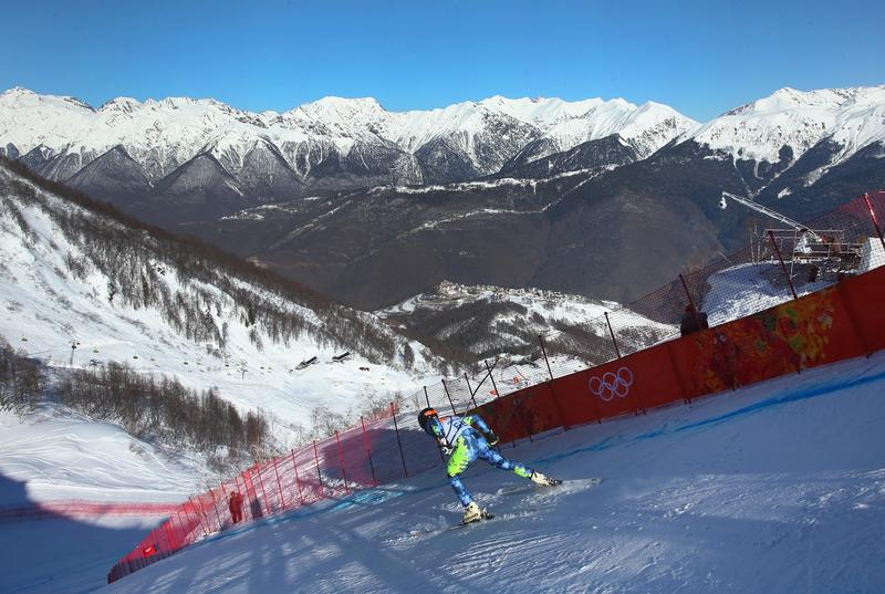 Henrik Von Appen of Chile starts a run during training for the Alpine Skiing Men's Downhill ahead of the Sochi 2014 Winter Olympics at Rosa Khutor Alpine Center on February 6, 2014 in Sochi, Russia.