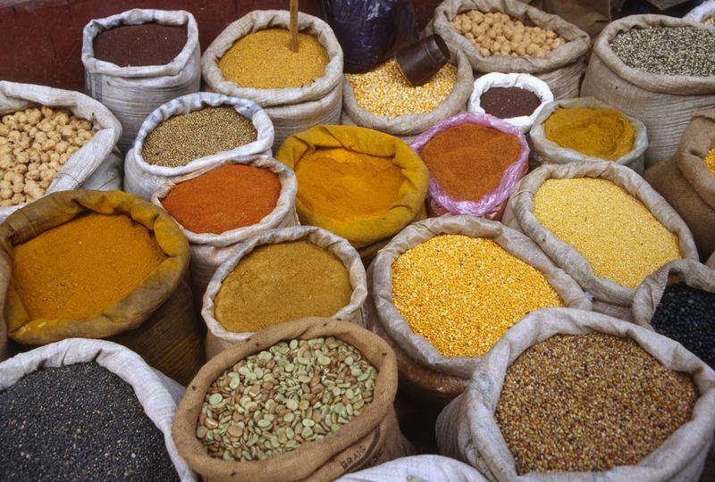 Sacks of assorted spices in Nepal, Kathmandu