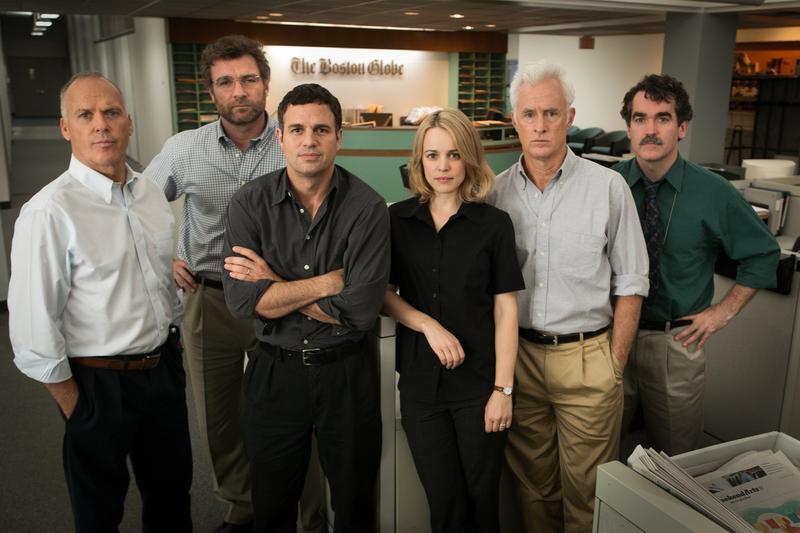 "Rachel McAdams as Sacha Pfeiffer, Mark Ruffalo as Michael Rezendes, and Brian d'Arcy James as Matt Carroll in ""Spotlight."""