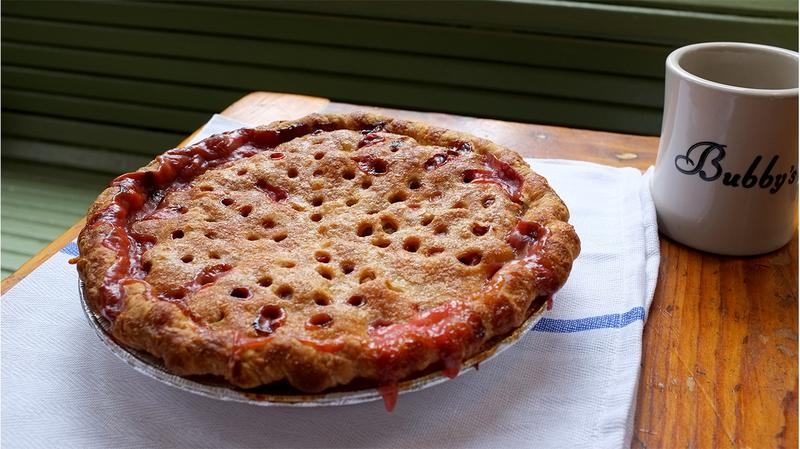 Bubby's Strawberry Rhubarb Pie uses local rhubarb from the farmers market.