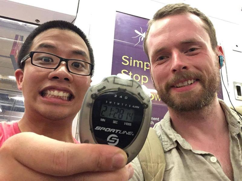 Matthew Ahn (left) set the new Guinness World Record for the fastest time traveling through every NYC subway station on July 22, 2016.