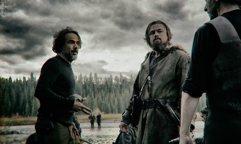 "Alejandro González Iñárritu with Leonardo DiCaprio on the set of ""The Revenant"""