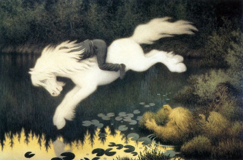 Boy on a white horse depicting the Nix, c. 1890