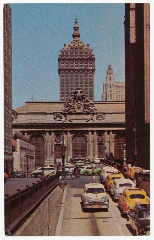 Traffic in front of Grand Central Station as seen from Park Ave and 41st St. in 1954.