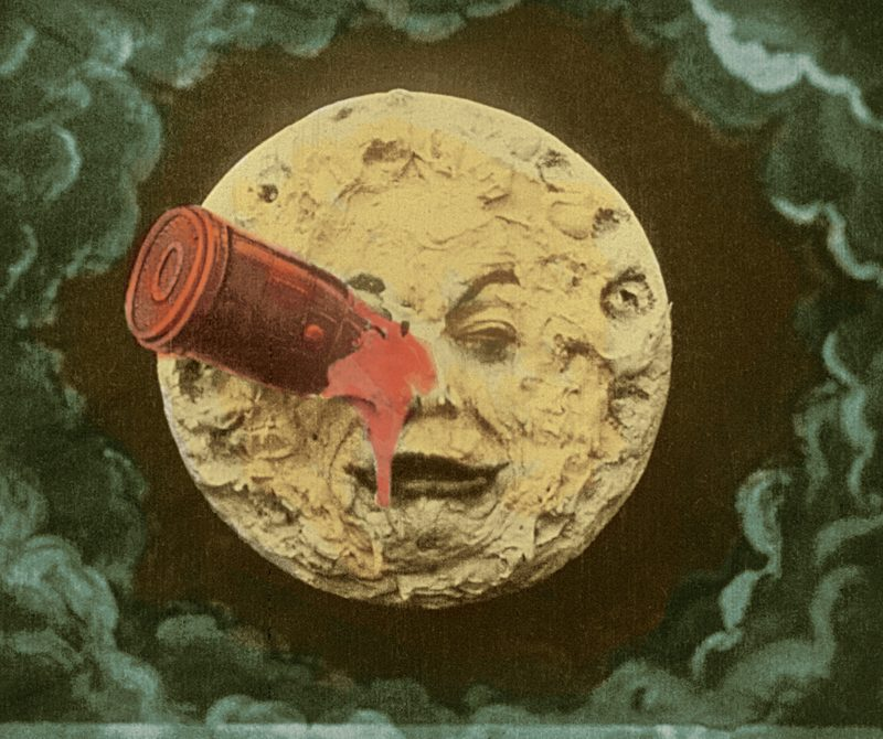 A frame from the only surviving hand-colored print of Georges Méliès's 1902 film <em>Le voyage dans la lune</em>