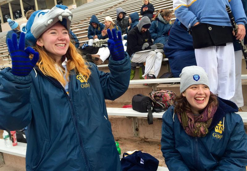 Senior spirit manager Clare Grieve and junior Ruth Hollander, members of the Columbia University Marching Band.