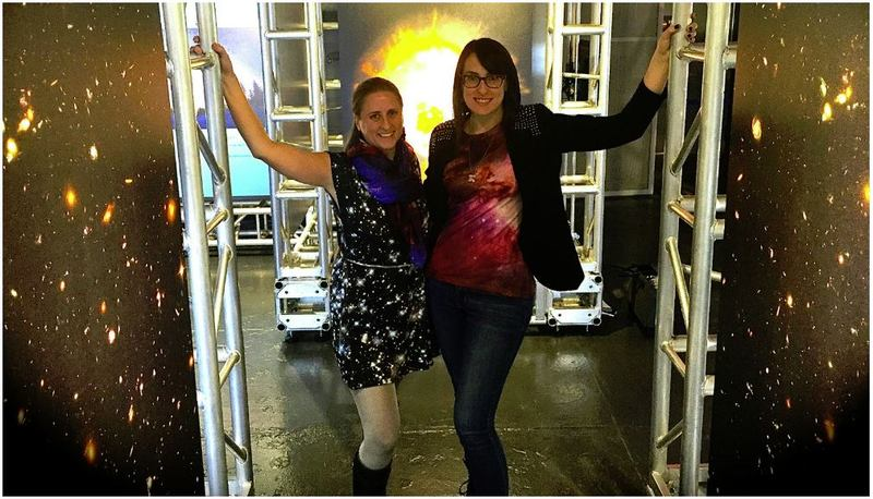 Emily Rice and Summer Ash celebrating the 25th anniversary of the Hubble Space Telescope