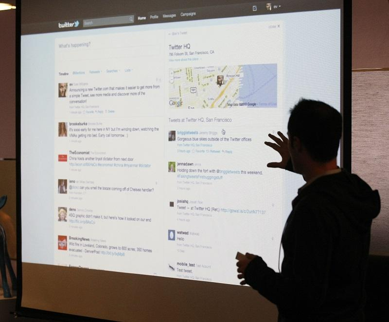 In this Sept. 14, 2010 file photo, Twitter CEO Evan Williams makes a presentation about changes to the social network at Twitter headquarters in San Francisco.