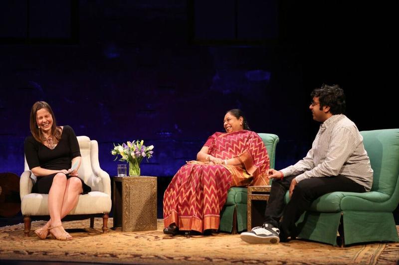 Host Anna Sale with comedian Hari Kondabolu and his mother, Uma Kondabolu