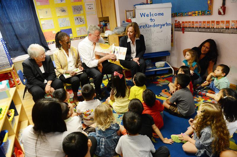 New York Mayor Bill de Blasio (C), along with (L-R) Schools Chancellor Carmen Farina, First Lady Chirlane McCray, and Queens Borough President Melinda Katz, visits Pre-K classes.
