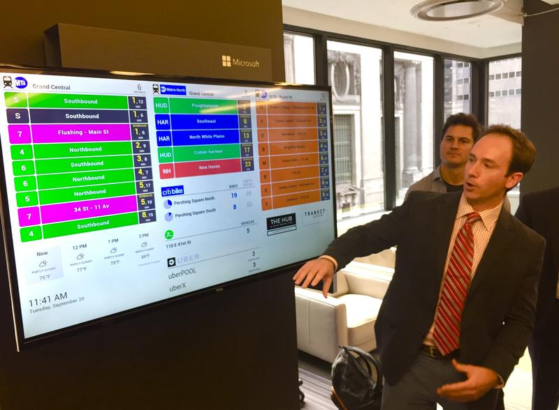 Jay Tedino previews TransitScreen, which gives New Yorkers real-time transportation options  around their area.