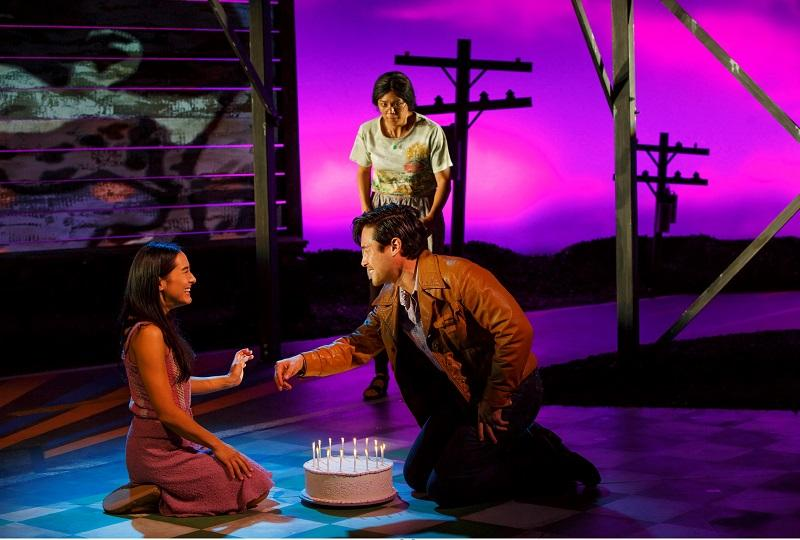 """""""Vietgone"""" at MTC at NYC Center - Stage 1. Pictured (L to R): Jennifer Ikeda as 'Tong,' Samantha Quan as 'Huong' (standing), and Raymond Lee as 'Quang.'"""