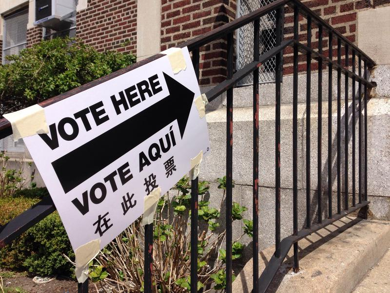 A sign outside a polling site in Dyker Heights, Brooklyn.