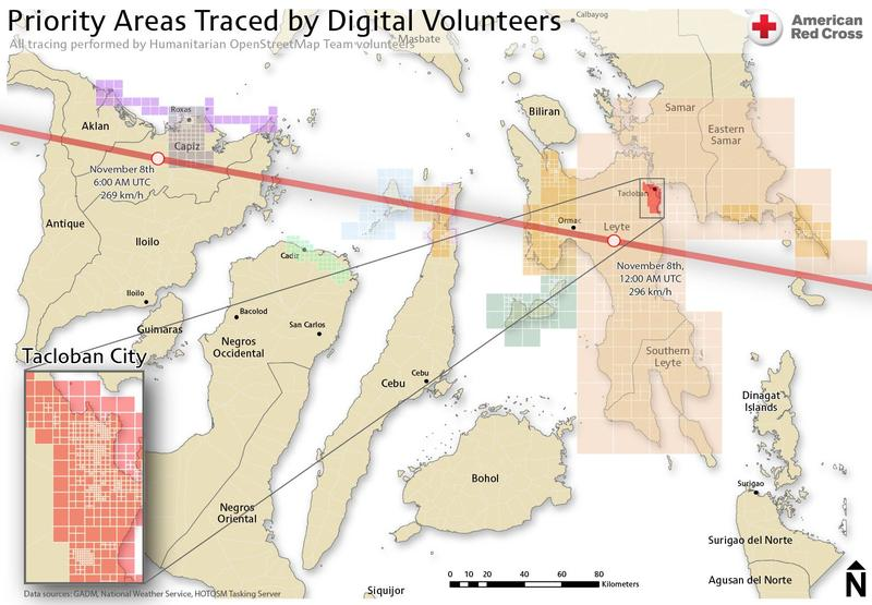 Map of Tacloban City after Typhoon Haiyan, updated by digital volunteers through opensource mapping technology.