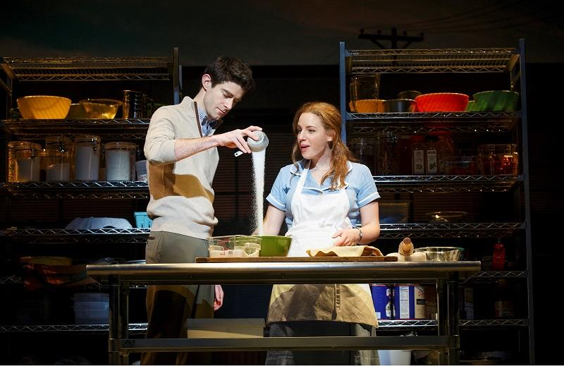 """L-R: Drew Gehling (Dr. Pomatter) and Jessie Mueller (Jenna) in """"Waitress"""" on Broadway at the Brooks Atkinson Theatre."""