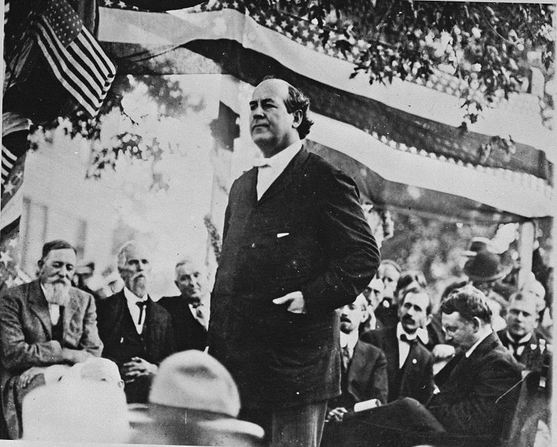 William Jennings Bryan, Democratic congressman of Nebraska, speaks during his campaign in Chicago in 1896.