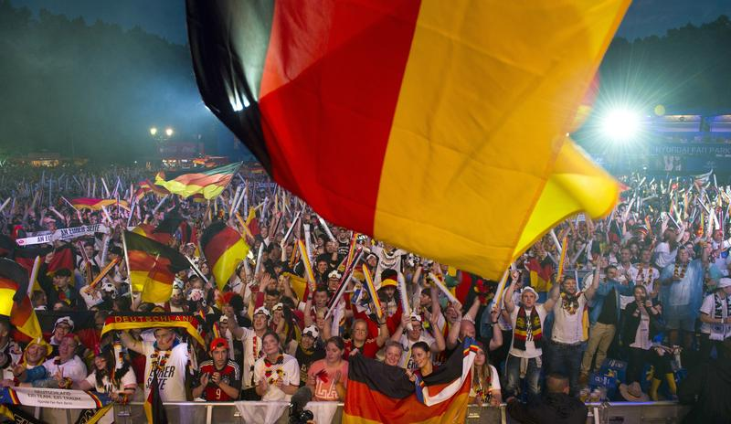 Germany supporters gather to watch the FIFA World Cup 2014 semi final football match