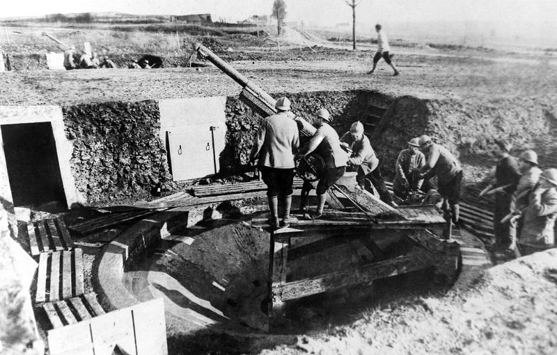 One of the batteries of the French 75's at Douaumont, France in an undated photo, which was famous in the battle of Verdun.
