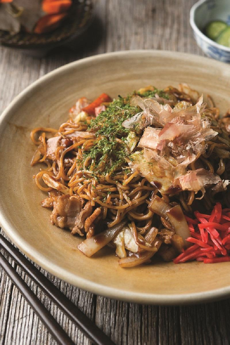YAKISOBA STIR - FRIED NOODLES WITH PORK, CABBAGE, AND RED PICKLED GINGER